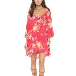 Free People Eyes on You Red Floral Boho Dress